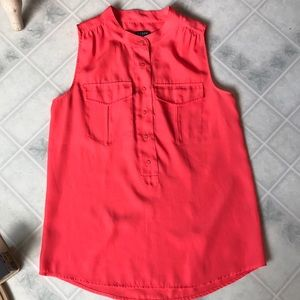J crew Bright Orange Partial Button Sleeveless Top